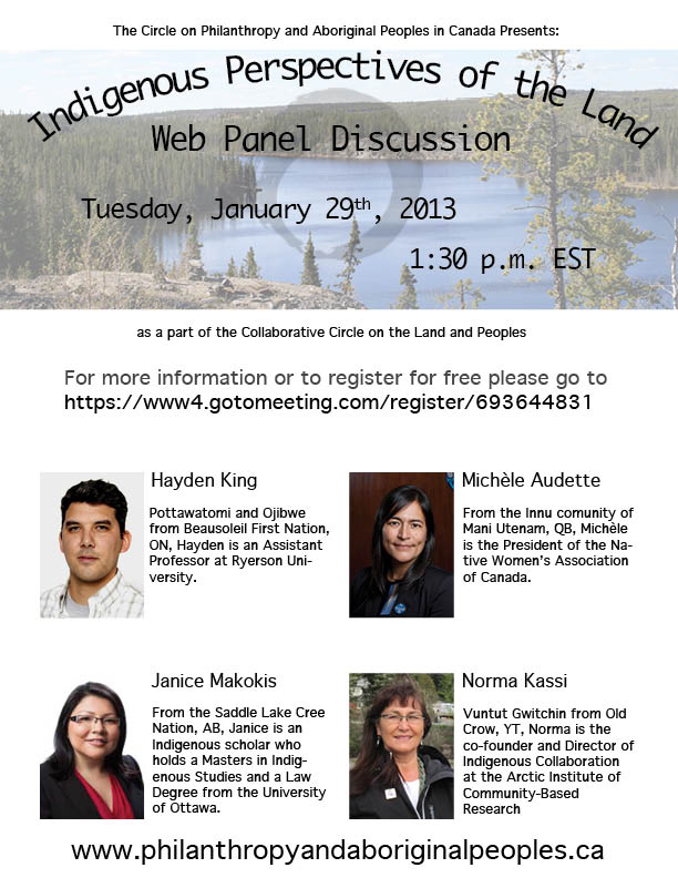 Upcoming Event - Indigenous Perspectives of the Land Panel Discussion - January 29th, 2013 @ 1:30pm EST
